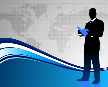 Businessman on World Map BackgroundOriginal Illustration