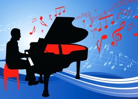 tocando piano: M?sico de piano en el musical nota de fondo Ilustraci?n original  Vectores