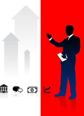 Businessman on Red and White Arrow BackgroundOriginal Illustration Иллюстрация