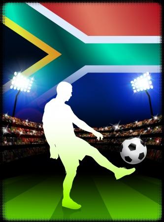 South African Soccer Player in Stadium MatchOriginal Illustration