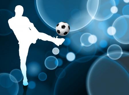 Soccer Player on Blue Bubble BackgroundOriginal Illustration