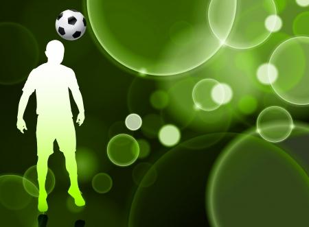 Soccer Player on Green Bubble BackgroundOriginal Illustration