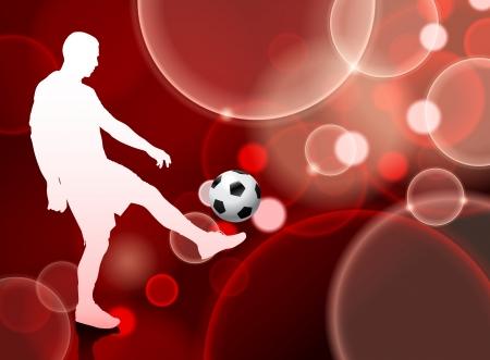 Soccer Player on Red Bubble BackgroundOriginal Illustration