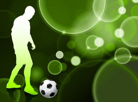 Soccer Player on Green Bubble Background Original Illustration Vector