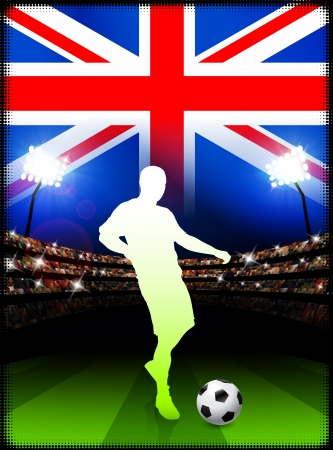 British Soccer Player in Stadium MatchOriginal Illustration Çizim