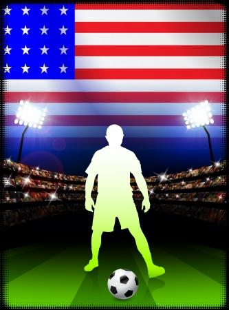 United States Soccer Player in Stadium MatchOriginal Illustration