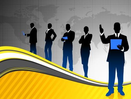 gray suit: Business Team on World Map Background Original Illustration