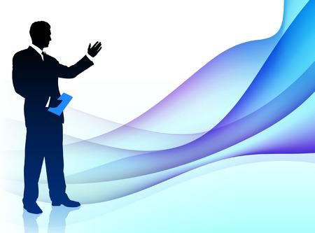 Businessman Musician on Abstract Flowing BackgroundOriginal Illustration