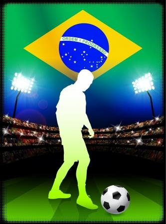 Brazil Soccer Player in Stadium MatchOriginal Illustration