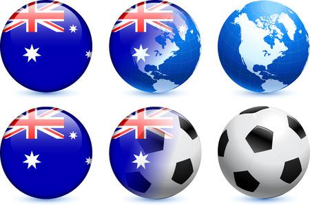 flag australia: Australia Flag Button with Global Soccer Event Original Illustration