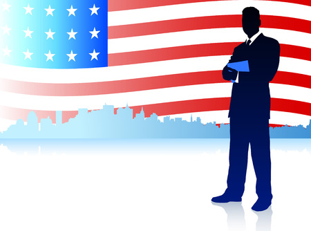 Businessman with American Flag Background Original Illustration Vector