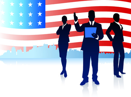 Business Team with American Flag Background Original Illustration Vector