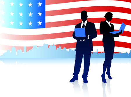 Business Couple with American Flag BackgroundOriginal Illustration