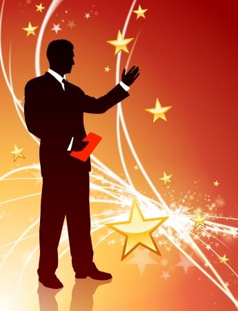 Businessman on Abstract Star Light BackgroundOriginal Illustration
