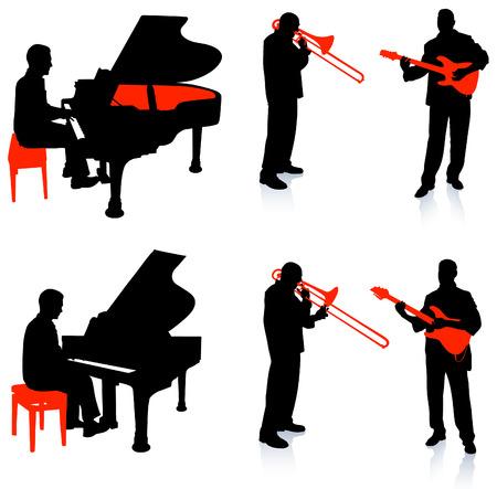 live band: Live Band Musicians Silhouette Collection Original Illustration Illustration