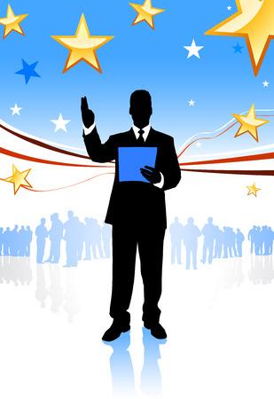 Businessman on Abstract United States BackgroundOriginal Illustration