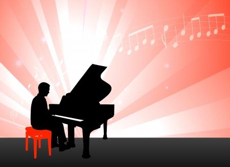 정오: 메모 원래 그림 빨간색 배경에 피아노 음악가 일러스트