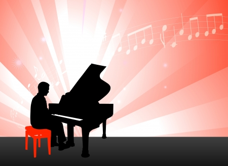 Piano Musician on Red Background with Notes Original Illustration Çizim