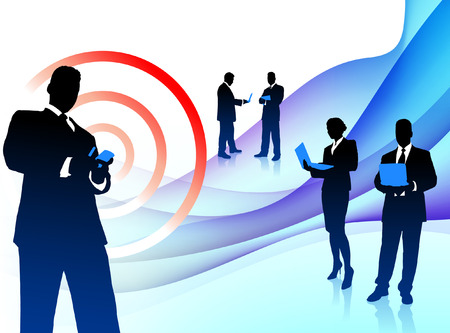 Business Team Musician on Abstract Flowing BackgroundOriginal Illustration Stock Vector - 22316929