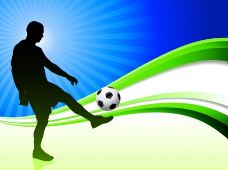 soccer goal: Soccer Player on Abstract Wave Background Original Illustration