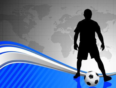 Soccer Player on Abstract World Map BackgroundOriginal Illustration