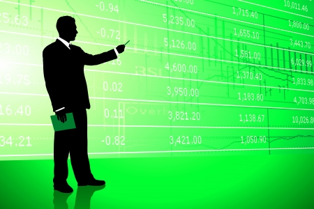 Businessman on Stock Market Background Original Illustration Vector