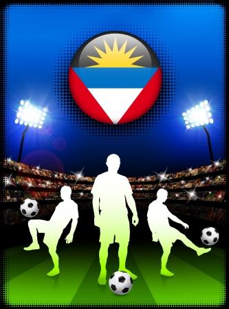 antigua flag: Antigua Flag Button with Soccer Match in Stadium Original Illustration Illustration