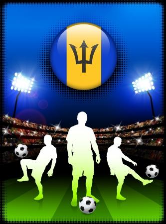 Barbados Flag Button with Soccer Match in Stadium Original Illustration