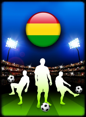 Bolivia Flag Button with Soccer Match in Stadium Original Illustration
