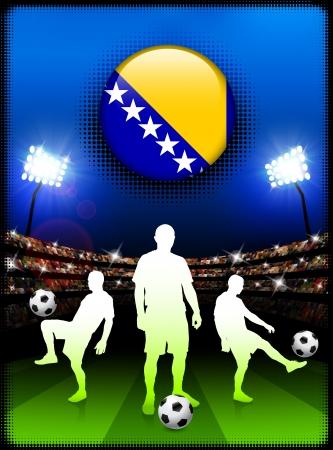 herzegovina: Bosnia and Herzegovina Flag Button with Soccer Match in Stadium Original Illustration Illustration
