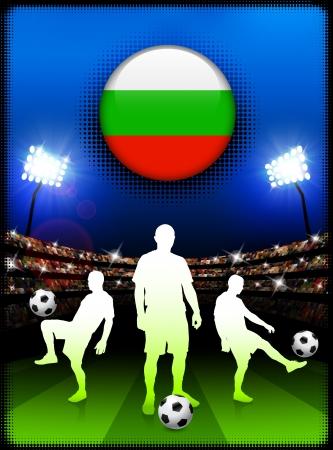 Bulgaria Flag Button with Soccer Match in StadiumOriginal Illustration 向量圖像