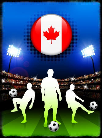 Canada Flag Button with Soccer Match in StadiumOriginal Illustration Vectores
