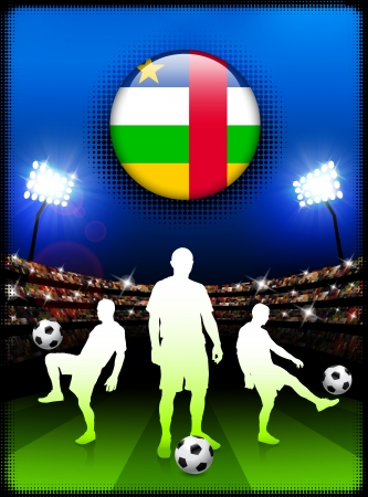 central african republic: Central African Republic Flag Button with Soccer Match in Stadium Original Illustration Illustration