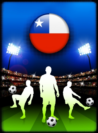 Chile Flag Button with Soccer Match in StadiumOriginal Illustration
