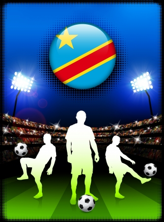 Congo Flag Button with Soccer Match in Stadium Original Illustration