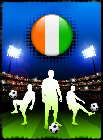 Ivory Coast Flag Button with Soccer Match in Stadium