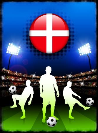 Denmark Flag Button with Soccer Match in StadiumOriginal Illustration