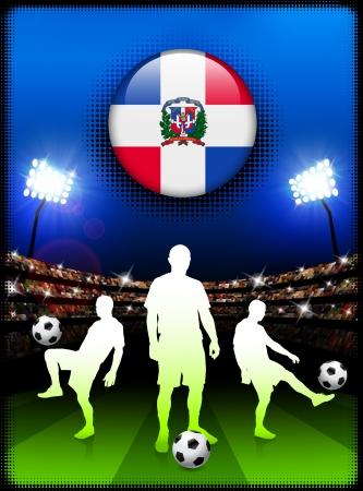 Dominican Republic Flag Button with Soccer Match in StadiumOriginal Illustration