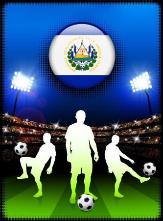 bandera de el salvador: Bot?n de bandera del Salvador con el partido de f?tbol en el estadio Ilustraci?n original