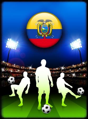 Ecuador Flag Button with Soccer Match in StadiumOriginal Illustration