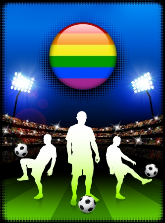 Gay Flag Button with Soccer Match in StadiumOriginal Illustration