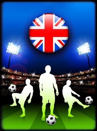 britain flag: Bot?n de bandera de Gran Breta?a con el partido de f?tbol en el estadio Ilustraci?n original