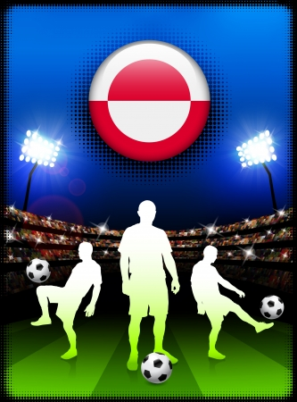 Greenland Flag Button with Soccer Match in StadiumOriginal Illustration