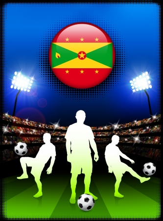 grenada: Grenada Flag Button with Soccer Match in Stadium Original Illustration