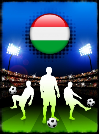 Hungary Flag Button with Soccer Match in StadiumOriginal Illustration Stock Illustratie