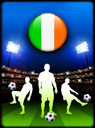 Ireland  Flag Button with Soccer Match in Stadium Original Illustration Vector