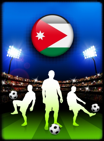 Jordan Flag Button with Soccer Match in Stadium Original Illustration Vector