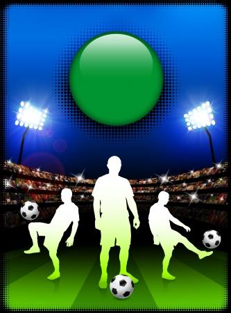 Libya Flag Button with Soccer Match in StadiumOriginal Illustration