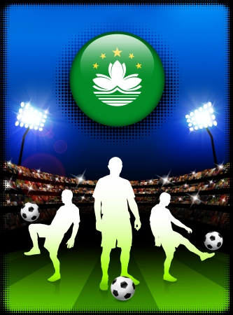 macau: Macau Flag Button with Soccer Match in Stadium Original Illustration