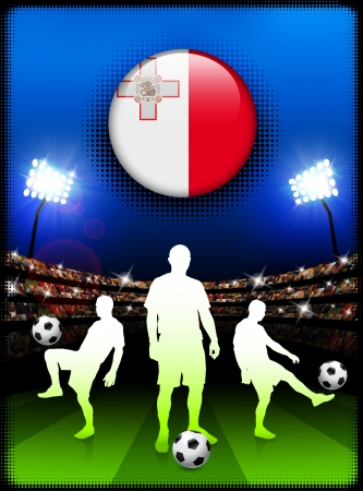 Malta Flag Button with Soccer Match in Stadium
